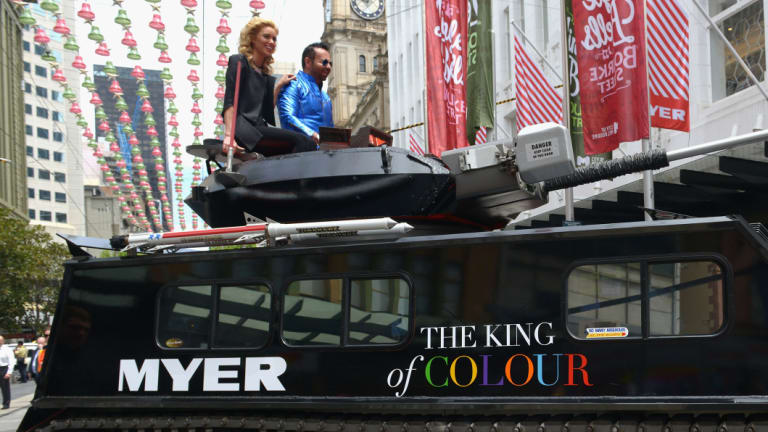 Napoleon Perdis atop his army tank launching into Myer in 2013.