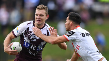 King of the north: Tom Trbojevic in action against the Dragons on Sunday.