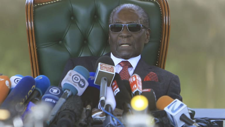 Former Zimbabwean President Robert Mugabe holds a press briefing on the eve of the country's elections.