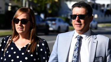 Former Ipswich mayor Andrew Antoniolli and his wife Karina arrive at the Magistrates Court in Ipswich on Wednesday.