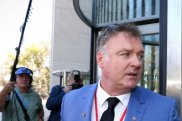 Senator Rod Culleton arrives at the High Court of Australia in Canberra on Monday.