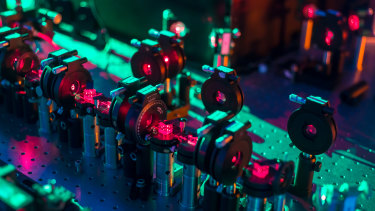 The experimental setup at Griffith University used to measure the quantum superposition of photons.