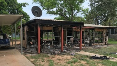 An image from a New Year's Day riot at Aurukun, where six houses were destroyed by fire.