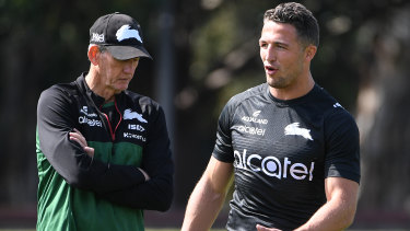South Sydney's Wayne Bennett and Sam Burgess chat during an energy-sapping 2019 campaign.