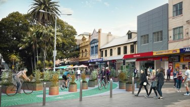 An artist's impression of the proposed cycleway in Manly.