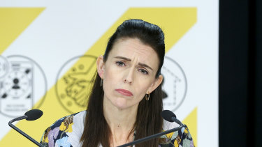 Prime Minister Jacinda Ardern at a press conference on Sunday.