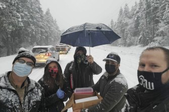 Healthcare workers administered the Moderna vaccine to stranded drivers in Oregon.