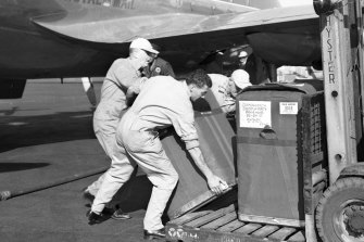 Two insulated containers of Salk vaccine for polio arrive at Mascot Airport in Sydney,  June 1956.