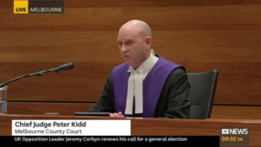 Chief Judge Peter Kidd at Melbourne County Court for the sentencing of George Pell.