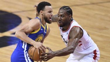 Curry and Kawhi Leonard go head-to-head.