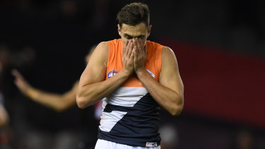 The Giants' Josh Kelly after a missed shot at goal.