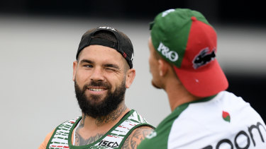 Cook something up: Adam Reynolds and Damien Cook share a joke at Souths training, but their form in round one was anything but a joke.