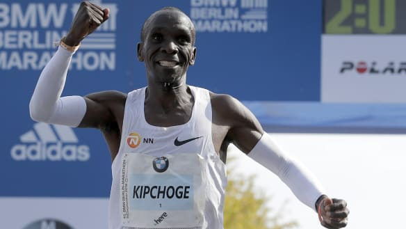 Olympic champion Eliud Kipchoge breaks marathon world record