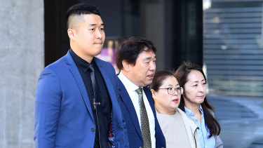 Family members of murdered Korean student Eunji Ban arrive at the Brisbane Supreme Court on Monday.