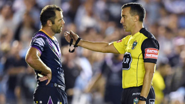 Sidelined: Cameron Smith was sin-binned for the first time on Friday.
