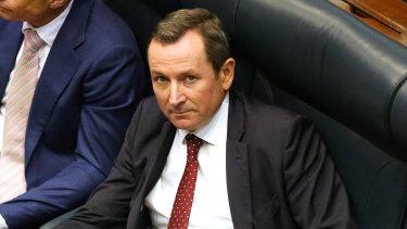 West Australian Premier Mark McGowan  on the floor of WA's Legislative Assembly.