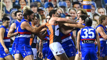 Tensions boiled over between Bulldogs and Giants players.