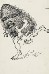 A gumnut baby is carried off by one of the villainous Banksia Men in this illustration by May Gibb.