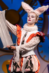 Olivia McLeod as the frantic White Rabbit.