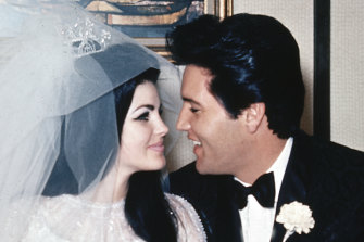 Elvis Presley and his bride, the former Priscilla Beaulieu, appear at the Aladdin Hotel in Las Vegas, after their wedding