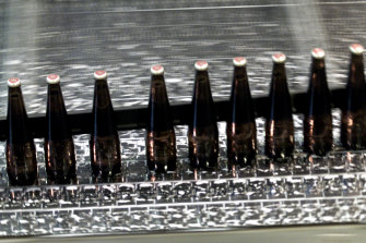 Beers on a production line.