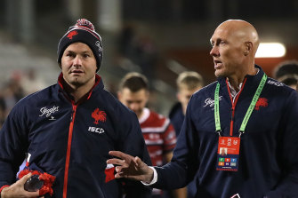 Roosters assistant coach Craig Fitzgibbon, right, with Boyd Cordner.