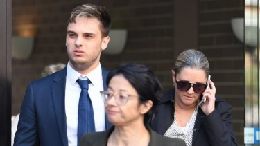 Max Town leaves the Sutherland Local Court, south of Sydney, on Thursday.