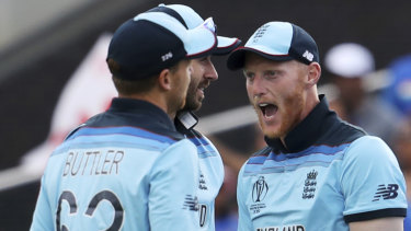 Pumped: Ben Stokes, right, and Jos Buttler celebrate the dismissal of India's Rishabh Pant.