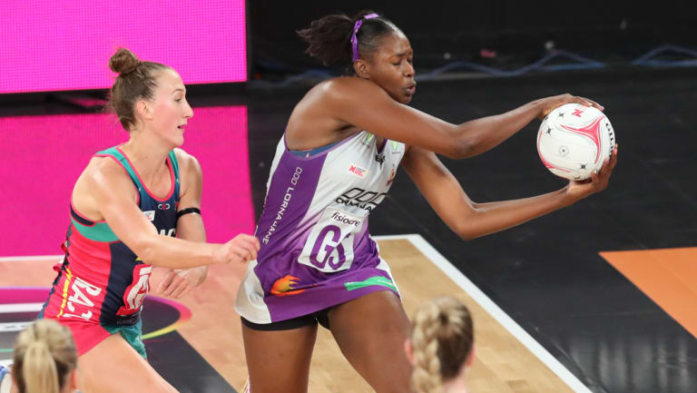Firebirds shooter Romelda Aiken proves too much for the Vixens defence at Hisense Arena.