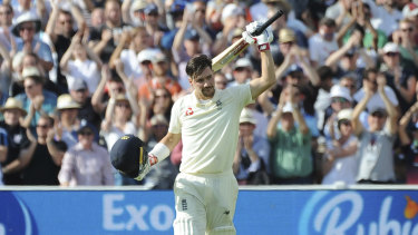 England's Rory Burns celebrates after scoring a century during the second day of the first Ashes Test.