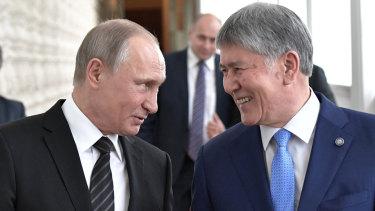 Russian President Vladimir Putin, left, with then Kyrgyz president Almazbek Atambayev in Moscow in 2017.