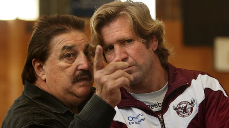 Prodigal son: Des Hasler, right, with Manly official Peter Peters.
