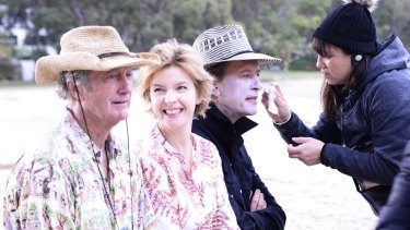 Opening night attraction: Bryan Brown, Jacqueline McKenzie and Richard E. Grant on the set of Palm Beach.