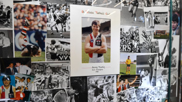 The tribute wall for Frawley at St Kilda HQ.