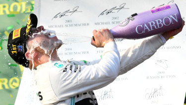Champagne moment: Valtteri Bottas.