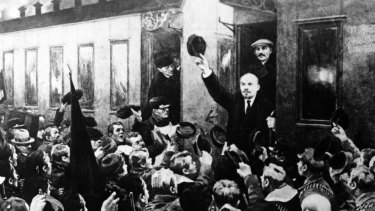 A depiction of Lenin arriving at St Petersburg's Finland Station in April 1917 (with Stalin, who was not present, standing behind him in the carriage). He was sent to Russia by the German government.