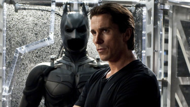 Christian Bale portrays Bruce Wayne and Batman in The Dark Knight Rises.