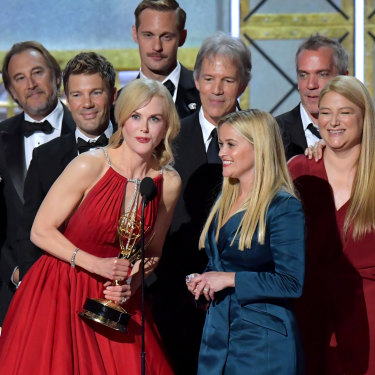 Nicole Kidman accepts a 2017 Emmy for Big Little Lies, which was made by her production house Blossom Films.