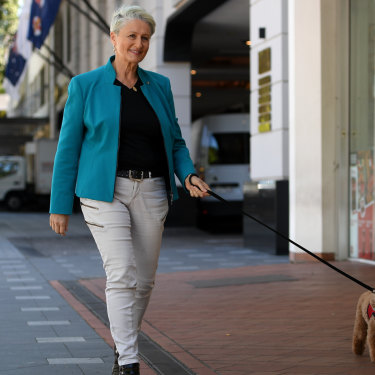 Kerryn Phelps and her campaign weapon, Lulu the poodle.