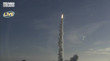 The H-IIA rocket with United Arab Emirates' Mars orbiter Hope lifts off from Tanegashima Space Centre in Minamitane, Japan.