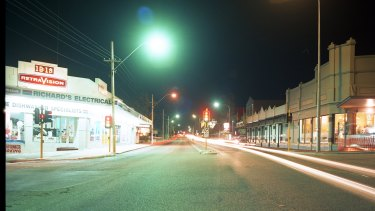 A photo taken by Mr Hyde in April 1997 showing the amount of lighting on Stirling Highway, Claremont around the same time of night that Ciara vanished from the area.