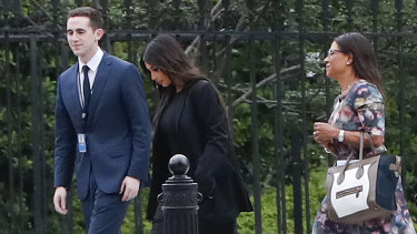 Kim Kardashian arrives at the White House with her attorney Shawn Chapman Holley.