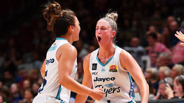 On point: Rebecca Cole (right) top-scored in Southside's semi-final win over Adelaide.
