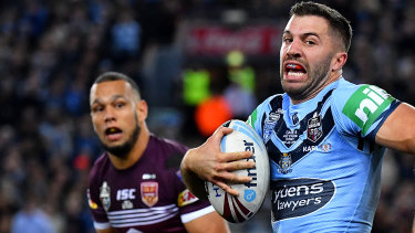 James Tedesco of the Blues on a break away.