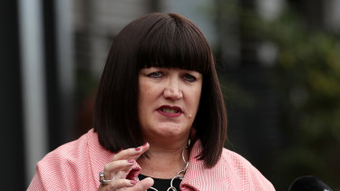 Rugby Australia boss Raelene Castle speaks to media in Sydney.