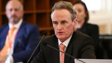 Coordinator-general Barry Broe during estimate hearings at Queensland Parliament in July.