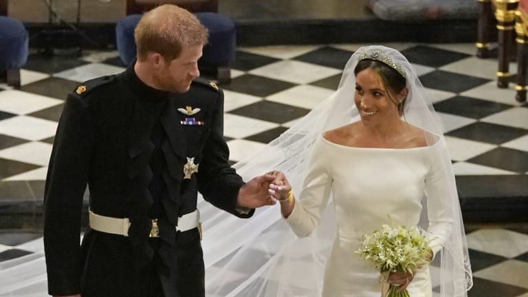 Meghan, the Duchess of Sussex, in her gown by Givenchy's Clare Waight Keller.