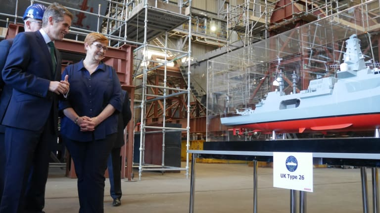 Defence Minister Marise Payne at the BAE shipyards in Glasgow.