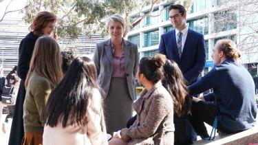 Tanya Plibersek speaks with students at Monash University.