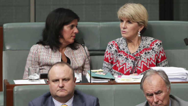 Liberal MPs Julia Banks and Julie Bishop during Question Time on Wednesday.